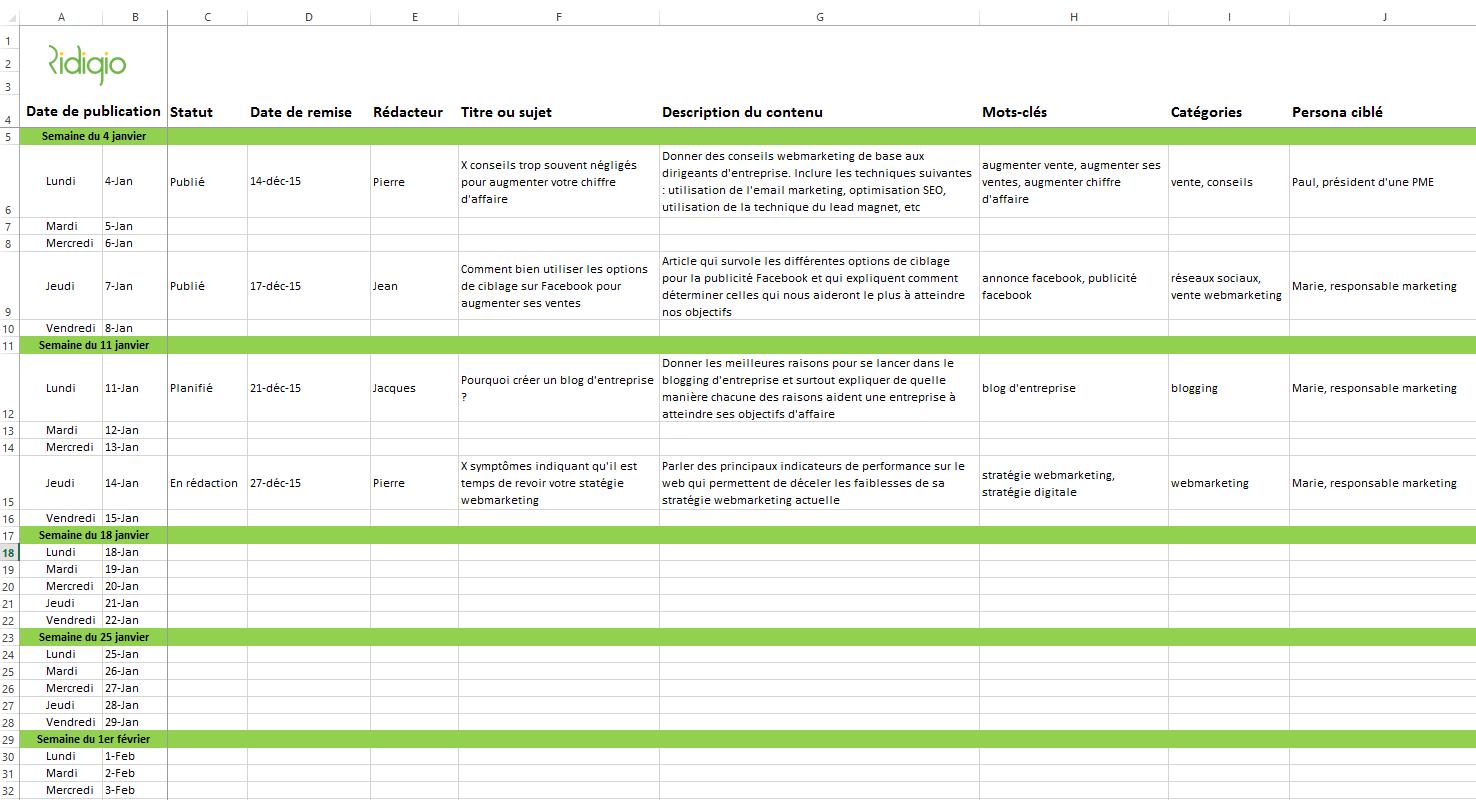 un modèle de calendrier editorial pour blog