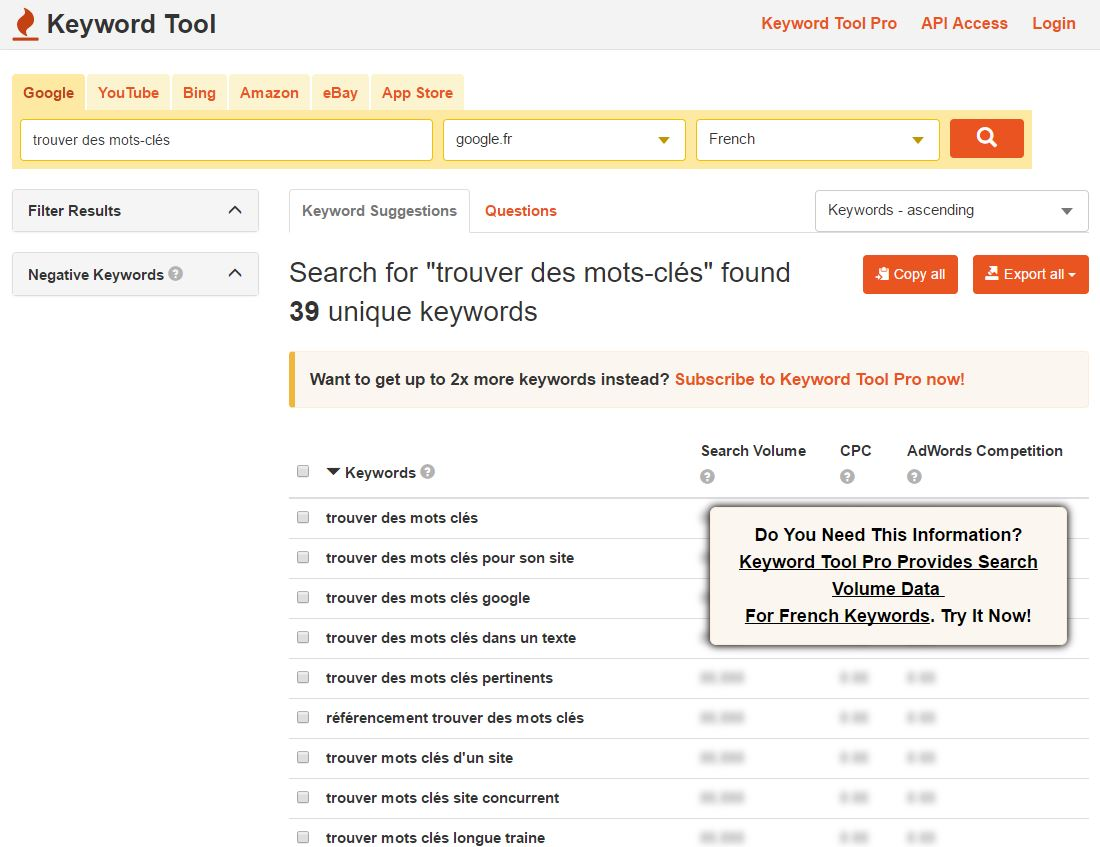 utiliser keywordtool pour trouvers ses mots-clés
