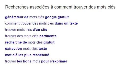 les mots-clés de google